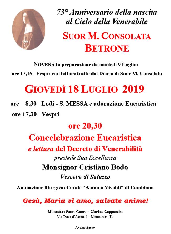 Decreto di Venerabilità -INCONTRO -GIOVEDÌ 18 LUGLIO 2019